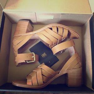 New Frye woven leather Biana heels